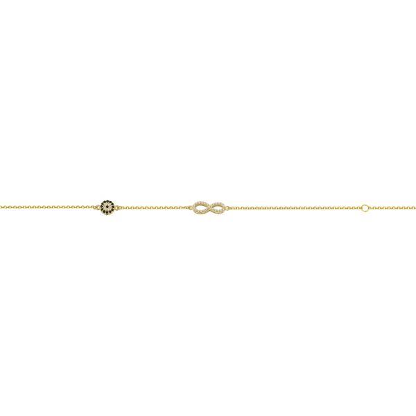 Βραχιόλι σε κίτρινο χρυσό με στοιχεία άπειρο και μάτι
